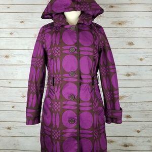 Boden Brown Purple Retro Geo Print Removable Hood